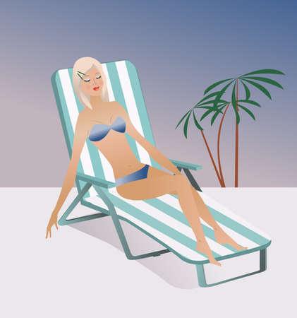 transat: Fille portant sur le soleil en chaise longue illustration