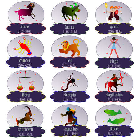 Signs of the zodiac , vector illustration  Vector