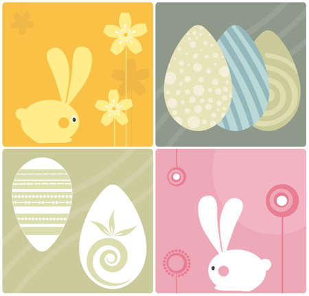 Easter Bunnies Design Elements Illustration