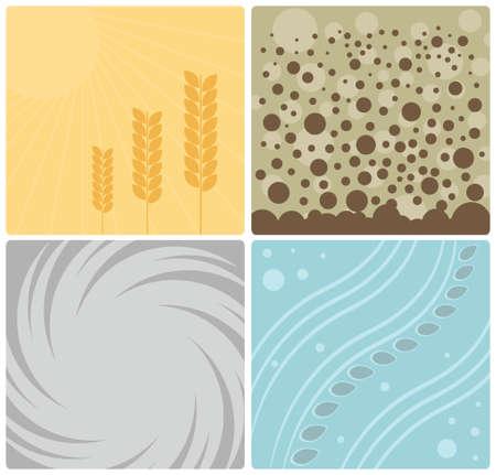 Four Nature Elements Design Vector