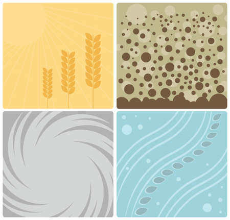 Four Nature Elements Design Illustration