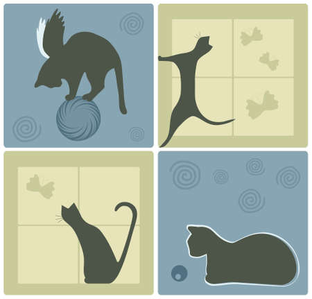 Design Elements with Cat Silhouettes