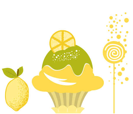 Vector Delicious Lemon Ice Cream Dessert Vector
