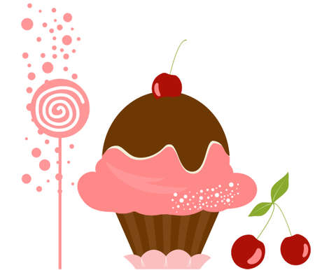 vanilla cupcake: Vector Delicious Cherry Ice Cream Dessert