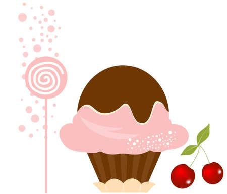 vanilla pudding: Cherry vector Delicioso helado de postre