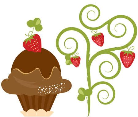 gofre: Vector Delicioso Postre helado de fresa Vectores