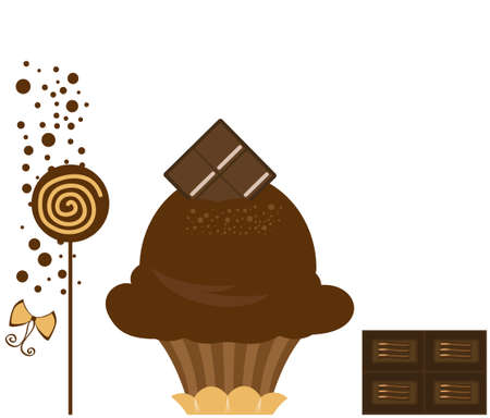 Vector Delicious Dark Chocolate Ice Cream Dessert Illustration