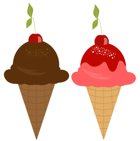Vector Ice Cream with Cherry on Top