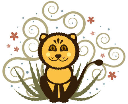 Vector Cheerful Lion Cub against Nature Background Vector