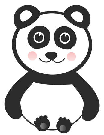 Vector Cheerful Baby Panda on White Background Vector