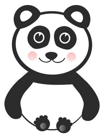 one panda: Vector Cheerful Baby Panda on White Background