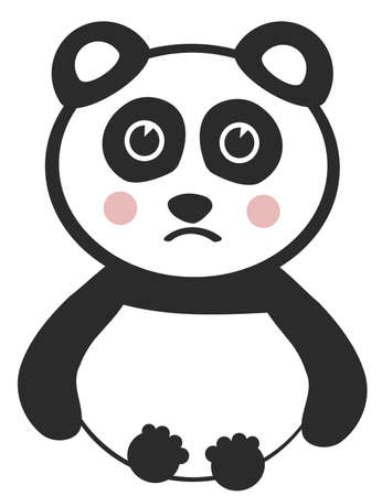 Vector Sad Baby Panda on White Background Illustration
