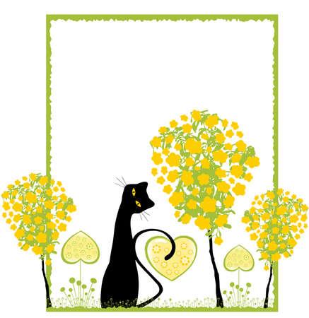 silhouette gatto: Vector gatto contro Floral Ornament