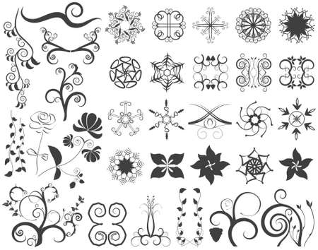 Vector Floral Design Elements Set