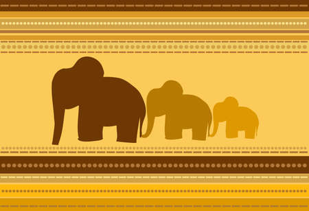 Vector Striped Background with Elephants Ornament