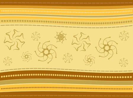 Striped Background with Floral Ornament Vector