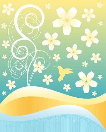 fragrances: Hummingbird on beautiful floral background