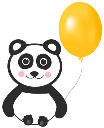 Panda with Balloon Greeting Design Element Vector