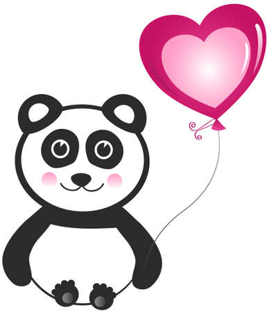 Panda with Balloon Greeting Design Element