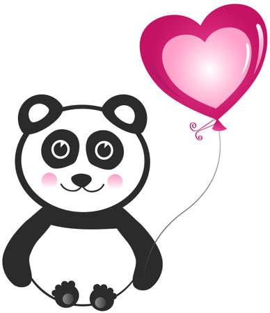 one panda: Panda with Balloon Greeting Design Element