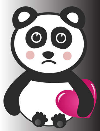 Sad Animal with Heart Vector
