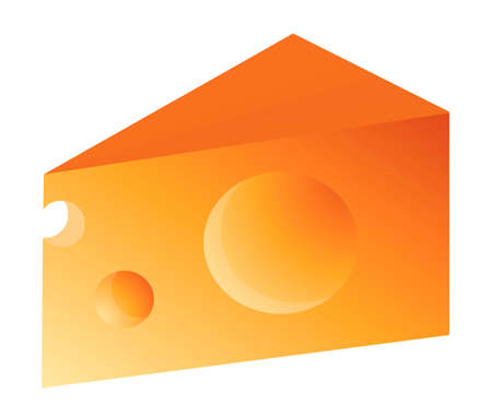 Swiss Cheese Slice on White Background