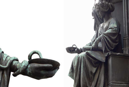 Woman holding Bowl of Hygeia Sculpture