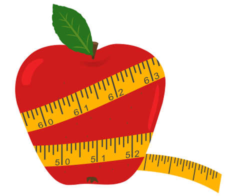 kilograms: Apple with measuring tape - Diet concept Illustration