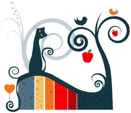 Cat and Apple Tree Vector Illustration - Decor Element Stock Vector - 5030586