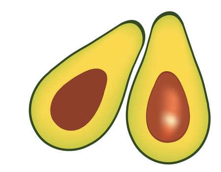 Avocado illustration isolated over white  Illustration
