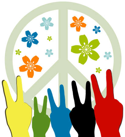 Human hands over Peace symbol Vector
