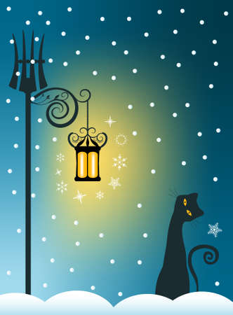 lamp silhouette: Whimsical Cat on Snowy Winter Background