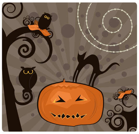 Spooky Pumpkin Vector Illustration Vector