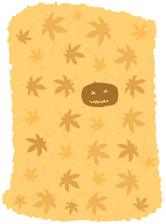 Vector Spooky Pumpkin and Maple Leaves Grunge Halloween Background Vector