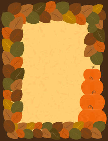 Vector Halloween Greeting Card with Foliage and Pumpkins Frame Illustration