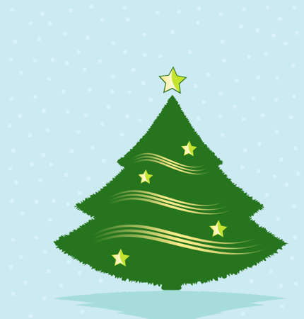 Decorated Christmas Tree on Snowy Background Vector Illustration Vector