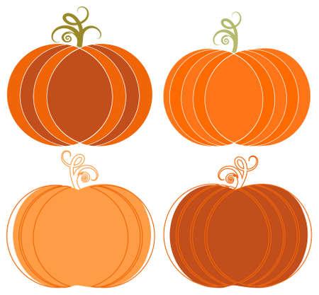 Whimsical Halloween Pumpkins Clip-art Set Vector
