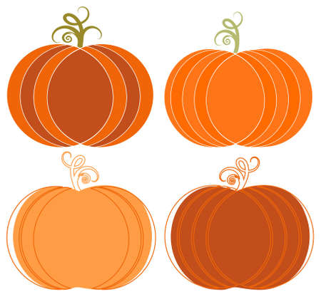 Whimsical Halloween Pumpkins Clip-art Set Illustration