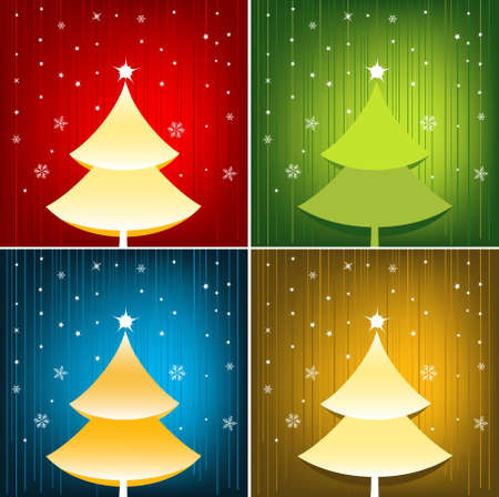 Festive Christmas Background Set Illustration