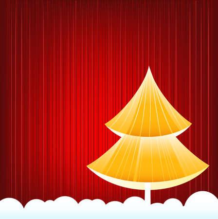 Vector Whimsical Xmas Tree over Festive Background Stock Vector - 5689945