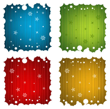 Vector Festive Backgrounds with Snowy Frame Set