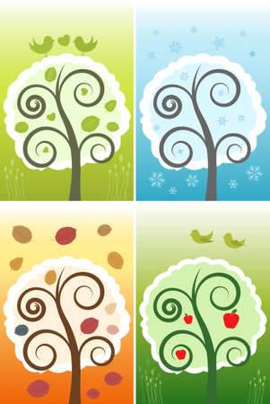 Vector Four Nature Seasons Illustration Illustration