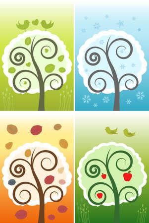 Vector Four Nature Seasons Illustration Stock Vector - 5689946
