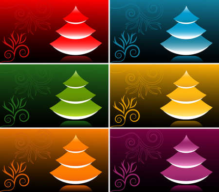 Vector Japanese Style New Year Tree Banner Set