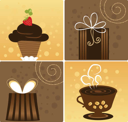 Vector Chocolate, Gift and Hot Cup of Coffee Stock Vector - 5839566
