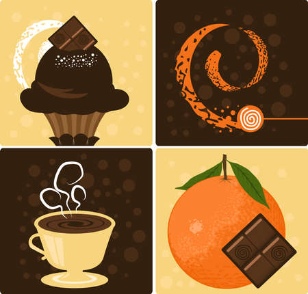 Vector Coffee with Delicious Orange Chocolate Dessert Stock Vector - 5839558