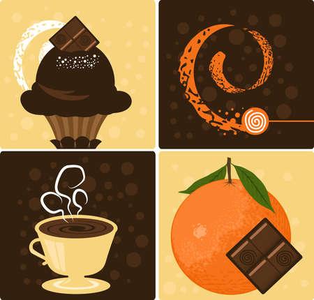 Vector Coffee with Delicious Orange Chocolate Dessert Stock Vector - 5839558