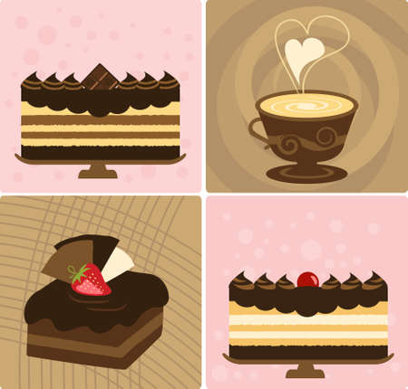 confection: Coffee with Delicious Chocolate Cake Illustration