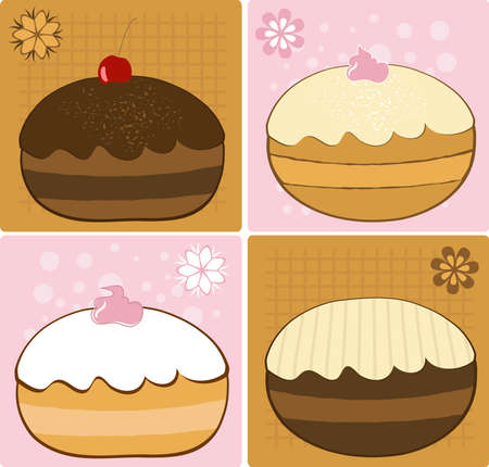 Delicious Hanukkah Donuts Set Illustration