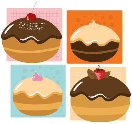 Delicious Hanukkah Donuts Set Vector